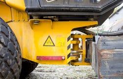 Men at work, asphalt laying. Road-building. Road construction machinery. Road grader Royalty Free Stock Photography