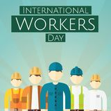 International Workers Day, 1 May. Men at work conceptual illustration Royalty Free Stock Image