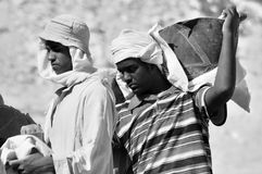 Men work for excavation of tombs Stock Photography