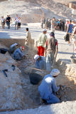 Men work for excavation of tombs Royalty Free Stock Image