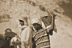 Men work for excavation of tombs Royalty Free Stock Photo