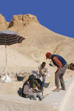 Men work for excavation of tombs Stock Images
