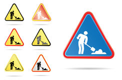 Men at work road sign. In different colors Royalty Free Stock Photo