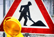 Men at work sign Stock Photo