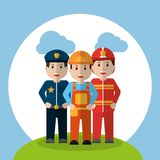 Men workers - policeman fireman and foreman construction standing in meadow cloud sky. Vector illustration Stock Photo