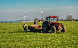 Men working in the field. Mescherin, Germany - March 10, 2014: Men working in the field, near the border with Poland.They follow a red tractor.In the background Stock Photo