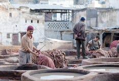 Men working hard in Chouara tannery, Fez, Morocco Stock Photos