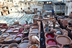 Men working hard in the tannery souk in Fez, Morocco Stock Photography