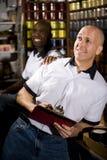 Men working in print shop stock photo