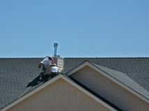 Men Working on Roof Royalty Free Stock Photography