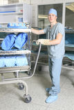 Men working on a sterilizing place in the hospital Stock Image