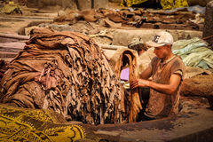 Men working at a tannery. Marrakesh. Morocco Royalty Free Stock Photography