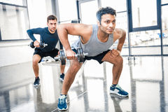 Men workout with dumbbells at gym. Young men workout with dumbbells at gym royalty free stock photography
