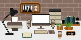 Men workspace for doing business royalty free illustration