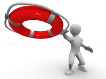 Men wtih lifepreserver Royalty Free Stock Images