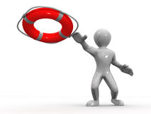 Men wtih lifepreserver Royalty Free Stock Image