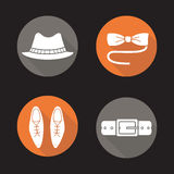 Men's accessories flat design long shadow icons set Stock Photography