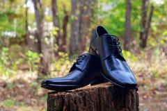 Men& x27;s black leather dress shoes Stock Photography