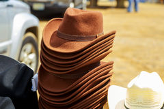 Men& x27;s hats of felt for sale at a flea market, selected focus a Royalty Free Stock Image