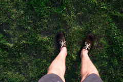 Men& x27;s legs in brown shoes Royalty Free Stock Photo
