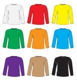 Men& x27; s-T-Shirts Design-Schablonensatz Mehrfarbiges T-Shirt mit langen Ärmeln Handzeichnungsart Modellhemden Vektor Illust Lizenzfreie Stockfotografie