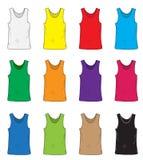 Men& x27; s-T-Shirts Design-Schablonensatz Mehrfarbiges T-Shirt ohne Ärmel Handzeichnungsart Modellhemden Vektor illustra Lizenzfreies Stockfoto
