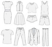 Men's and Women's Clothing set sketch. Clothes, hand-drawing, doodle style. Clothes vector illustration. Royalty Free Stock Images