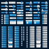 Menú y botones para el fondo del negro del sitio web Imagen de archivo