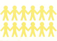 Men of yellow paper, on white background royalty free stock images