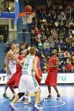 Men from Zalgiris and CSKA Moscow teams play basketball Stock Photos