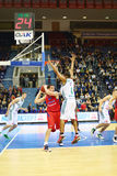 Men from Zalgiris and CSKA Moscow teams play basketball Stock Photography