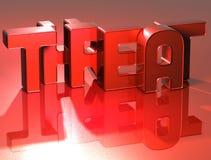 menace de 3D Word sur le fond rouge Images stock
