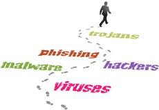 Menace de malware de virus d'homme d'affaires de garantie illustration stock