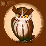Menacing brown owl, cartoon series Royalty Free Stock Photo