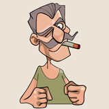 Menacing cartoon mustached man with a cigarette in his mouth Royalty Free Stock Image