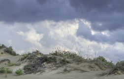 Menacing clouds over the pure white sandunes at Sampieri beach in Sicily in a summer windy day. Menacing clouds over the pure white sandunes and scattered bushes stock photos
