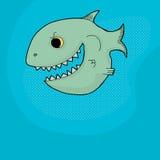 Menacing Fish. Happy grinning cartoon fish with big mouth and teeth Royalty Free Stock Image