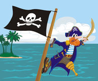 Menacing pirate and jolly roger Royalty Free Stock Image