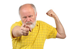 Menacing senior bald man Stock Photos