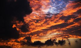 Menacing skies. A sunset as wild as raging fire Royalty Free Stock Images
