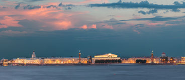 Menacing sky of the sunset over the spit Vasilyevsky island. Saint Petersburg Stock Photos