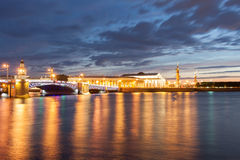 Menacing sky of the sunset over the spit Vasilyevsky island. Saint Petersburg Royalty Free Stock Photos