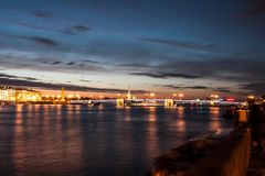 Menacing sky of the sunset over the spit Vasilyevsky island. Saint Petersburg Stock Image
