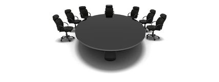 Menagement table. Black table in conference room Stock Photo