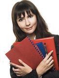 Menager. Young woman with folders in her hands Stock Photography