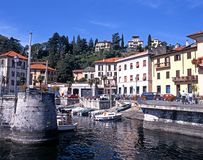 Menaggio harbour and town. Royalty Free Stock Images