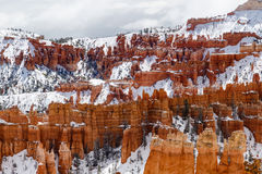 Menagrami e neve, parete di canyon di Bryce Canyon National Park fotografia stock