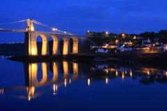 Menai Brücke stockbilder