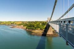 Menai-Brücke, Anglesey, Wales, Großbritannien stockfotos