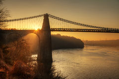 Menai Bridge. And the Straits at sunset Isle of Anglesey North Wales Royalty Free Stock Photo